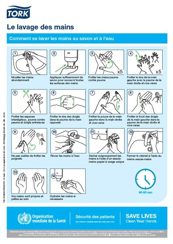 Tork enseigne les bons r flexes d 39 hygi ne adopter pour - Protocole de lavage des mains en cuisine ...